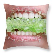 Biting Into Green Rock Candy  Throw Pillow