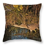 Bittern Stretched Out Throw Pillow