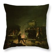 Bivouac Of Napoleon I 1769-1821 On The Battlefield Of The Battle Of Wagram, 5th-6th July 1809, 1810 Throw Pillow