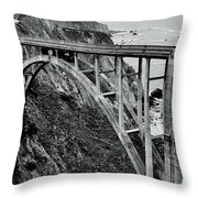 Bixby Creek Bridge Black And White Throw Pillow by Benjamin Yeager
