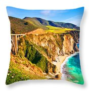 Bixby Creek Bridge Oil On Canvas Throw Pillow