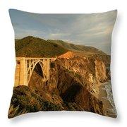 Bixby Creek Bridge In Big Sur Throw Pillow