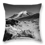 Bizarre Landscape Bolivia Black And White Throw Pillow