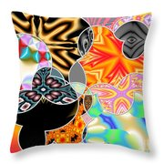 Bizzarro Colorful Psychedelic Floral Abstract Throw Pillow