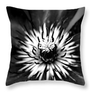 Black And White Clematis Throw Pillow