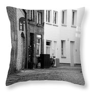 Black Alley Cat Throw Pillow