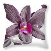 Black And Purple Orchid Throw Pillow