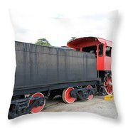 Black And Red Steam Engine Throw Pillow