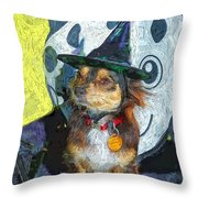 Black And Tan Chihuahua - Such A Good Little Witch Throw Pillow