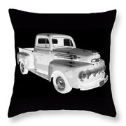 Black And White 1951 Ford F-1 Pickup Truck  Throw Pillow
