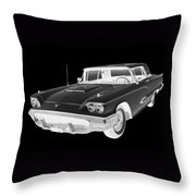Black And White 1958  Ford Thunderbird  Car Pop Art Throw Pillow