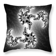 Black And White Abstract Fractal Art Throw Pillow