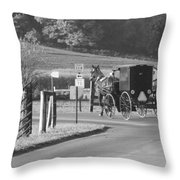 Black And White Amish Horse And Buggy Throw Pillow
