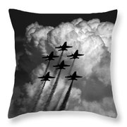 Black And White And Blue Angels Throw Pillow