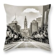 Black And White Benjamin Franklin Parkway Throw Pillow