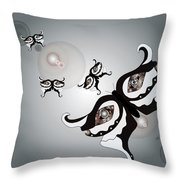 Black And White Butterflyillustration Throw Pillow