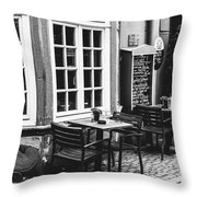 Black And White Cafe Throw Pillow
