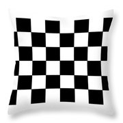 Black And White Checkered Flag Throw Pillow