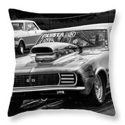 Black And White Chevy Camaro Ss Hotrod Throw Pillow