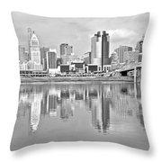 Black And White Cincinnati Panoramic Throw Pillow