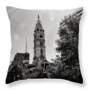 Black And White City Hall Throw Pillow