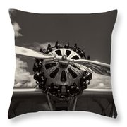Black And White Close-up Of Airplane Engine Throw Pillow
