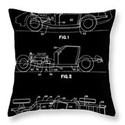 Black And White Corvette Patent Throw Pillow