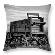 Black And White Covered Wagon Throw Pillow by Athena Mckinzie