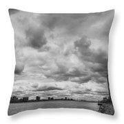 Black And White Detroit Skyline  Throw Pillow