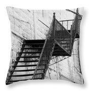 Black And White Fire Escape Usa Near Infrared Throw Pillow