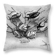 Black And White Fish 1  Throw Pillow