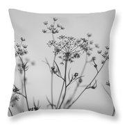 Black And White Floral Silhouettes Throw Pillow