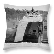 Black And White Freighter Throw Pillow