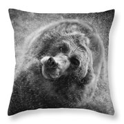 Black And White Grizzly Throw Pillow