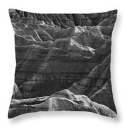 Black And White Image Of The Badlands Throw Pillow