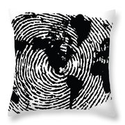 black and white ink print poster One of a Kind Global Fingerprint Throw Pillow