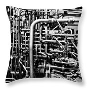 Black And White Jet Engine Throw Pillow