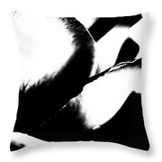 Black And White Layers Of A Rose  Throw Pillow