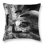 Black And White Lily Up Close Throw Pillow