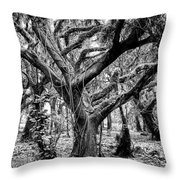 Black And White Maui Tree Throw Pillow