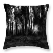 Black And White Monochrome Artistic Painterly Sun Between Trees  Throw Pillow