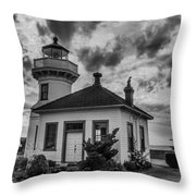 Black And White Mukilteo Lighthouse Throw Pillow