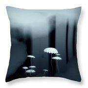 Black And White Mushrooms Throw Pillow