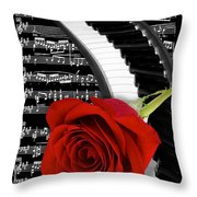 Black And White Music Collage Throw Pillow