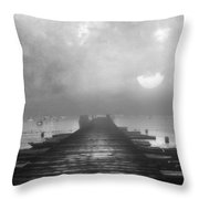 Black And White Mystery- From The Moon To The Mist Throw Pillow