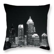 Black And White Night In Atlanta Throw Pillow
