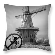Black And White No Tilting At Windmills Throw Pillow