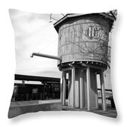Black And White Of A Water Tower Throw Pillow