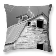 Black And White Old Barn Lightning Strikes Throw Pillow