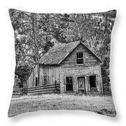 Black And White Old Merritt Farmhouse Throw Pillow